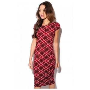 Daisy Street Plaid Midi Bodycon Dress XS
